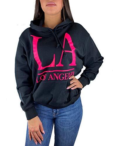 Worldclassca Damen Kapuzenpullover LOS Angeles Sweatshirt Sommer Hoodie Langarmshirt Oberteil Pulli Fitness Sport VIELE Farben Blogger NEU (S/M - 36/38, Schwarz-Pink)