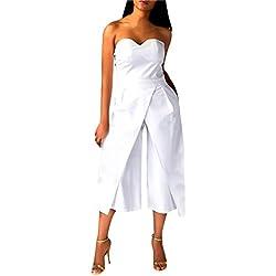 manadlian Femmes Bodysuit Jumpsuit Combinaisons, 2017 Femmes Dames Clubwear rayée Bodycon Party Salopette Pantalon sans Manches (M, Blanc)