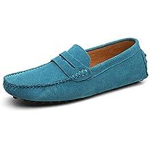 Hombres Mocasines Zapatos de Cuero Genuino Moda Verano Estilo Suave Mocasines Pisos Zapatos de conducción