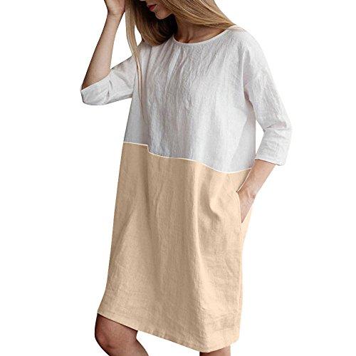 MURIC Damen MRULIC Leinen Gemütlich Leinen Dünnschnitt Lose langärmelige Bluse T-Shirt Pullover(Y1-Khaki,EU-40/CN-M)