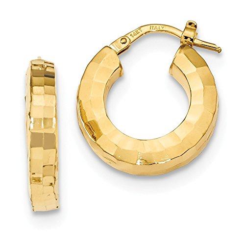 Damen-14K Gelb Gold Diamant Schnitt Ohrringe Creolen Frauen klein