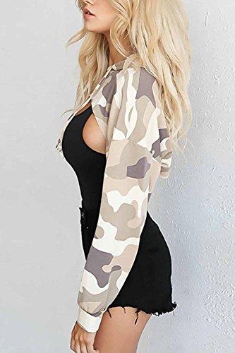 Les Femmes Se Base Dessus Irrgular Camouflage Capuche Cravate Manches Longues Des Sweat - Shirts. brown