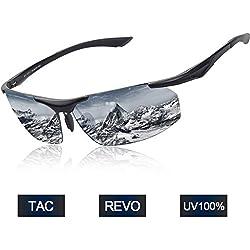 Elegear Gafas de Sol Hombre Polarizadas Gafas Ciclismo Anti Rayos UVA Marco Aleación de Aluminio Magnesio y TR90 Lente Espejo con REVO Anti Aceite para Running Coche MTB Moto Montaña-Color Plateado
