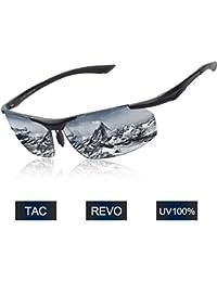 Elegear Herren Sonnenbrille Verspiegelt Damen Fahrradbrille UV Schutz Radbrille Superleichtes Rahmen Sport Brille Mode Fahrer Sonnenbrille für Autofahren Laufen Radfahren Klettern Angeln Golf Outdoor Aktivitäten (Schweiz Grilamid TR90/ AL-MG Metall/ Polarisierte)