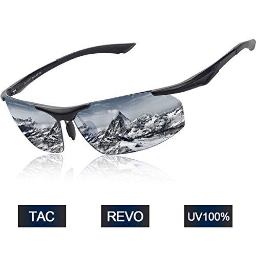 Elegear Herren Polarisierte Treiber Sunglasses Sport Sonnenbrille Al-Mg Metallrahme Ultra leichte Sportbrille Damen verspiegelt Fahrradbrille mit UV 400 Schutz für Damen und frauen Autofahren Laufen Radfahren Angeln Golf Outdoor Sport - Raum Silber