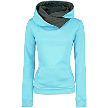 Molly Mujeres Sudadera Deportiva de Manga Larga Estilo Hooded Sweatshirt Azul