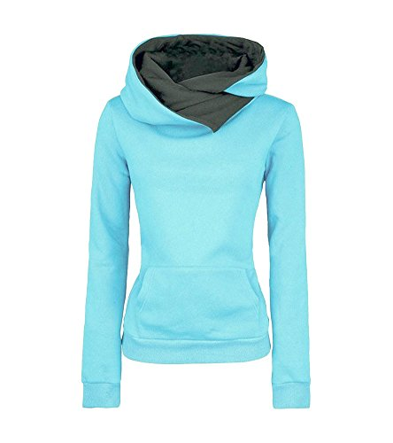 Molly-Donne-Leisure-Puro-Colore-Slim-Fit-Cappuccio-Felpa-Blu