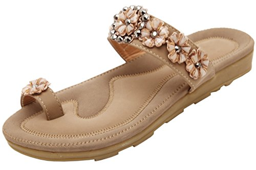 BIGTREE Damen Zehenringe Pantoffeln Sommer Urlaub Strand Glänzend Blumen Perlen Flach Sandalen von Beige 41 EU (Strumpfhosen Sandal Toe)