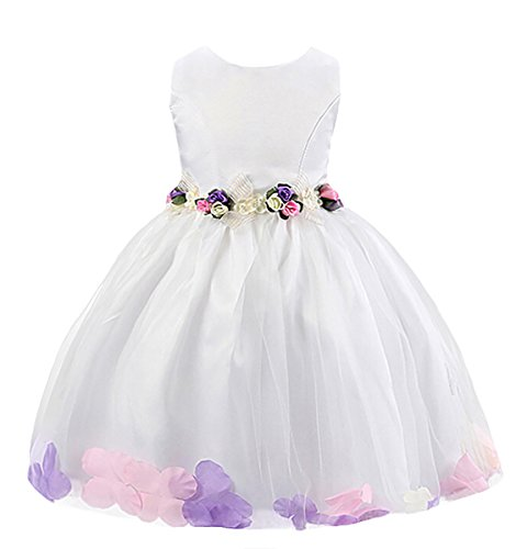 Happy Cherry Mädchen Rundkragen ohne Ärmel Tüll Blumenmädchenkleid Brautkleid Ballkleid Cocktailkleid mit Blumen - Weiß 120 (Mädchen Cherry Kleid)