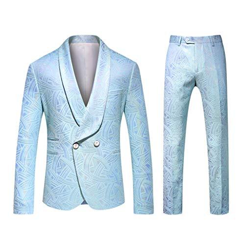 ZHANSANFM Sakko Herren Anzug ein Knopf Anzugjacke Anzughose 2 Stück Set Slim Fit Unifarben Drucken Blazer Suit Business Freizeit Elegant Smoking für Festlich Party Abend Hochzeit (4XL, Hellblau) -