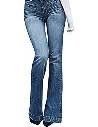 ODJOY-FAN Donna Jeans a Zampa Pantaloni a Vita Alta Elasticizzati La  Coltivazione Lavato abrasivi 44d7725fdd4