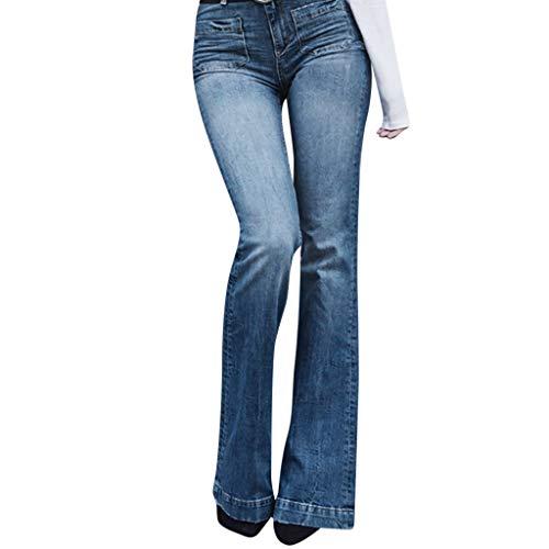 Damen Flares Jeans Plus GrößE FrüHling Sommer Elastische Einfarbig Lose Denim Doppeltasche Mode LäSsig Boot Cut Hose Jeans Boyfriend Jeans Blau M Damen Stretch Flare Jeans