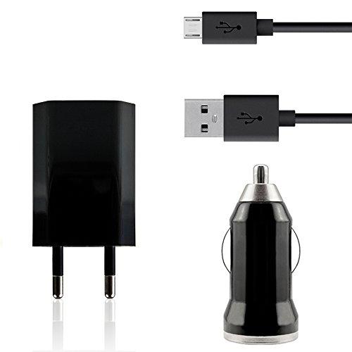 iprotect 3 in 1 KFZ Set in Schwarz mit Micro USB 2.0 Datenkabel u Netzteil u KFZ Adapter Autoladegerät für Motorola Moto X (2. Gen) und Moto G (2. Gen)