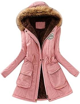 Abrigos Mujers,Tefamore Chaqueta de mujeres La Moda invierno Europea Chaqueta con capucha de cuello de piel larga...