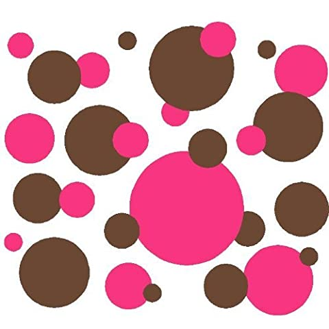 Set of 130 Brown and Dark Pink Polka Dots Circles Wall Decor Graphic Vinyl Lettering Mural Decal Stickers Kit Peel and Stick Appliques