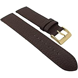 Herzog calf Leather watch strap 22 mm Brown or Black Padded Strong | Replacement Band 20 mm, Width: 22 mm, Clasp: Golden Bridge, Color: Brown