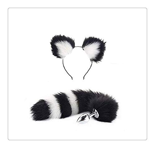 Z-one 1 Bunny Girl Set Edelstahl Fuchsschwanz Stirnband Headwear Chinesischer Gro?er Panda Farbe f¨¹r Halloween Dress Up (Black & White) (Halloween Anime Girl Dress Up)