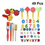 YeahiBaby Malschwamm Pinsel-Set DIY Kunst Malwerkzeuge für Kinder, 49 Stück (zufällige Farbe)