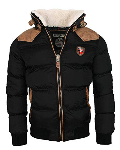 Geographical Norway warme Winterjacke Designer Herren Winter Stepp Jacke [GeNo-31-Schwarz-Gr.2XL]