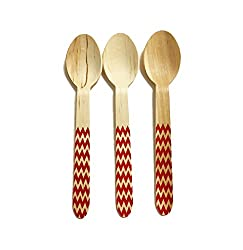 Perfect Stix Chevron Spoon 158 36 - Red Printed Wooden Spoons with Red Chevron Pattern, 6 (Pack of 36)