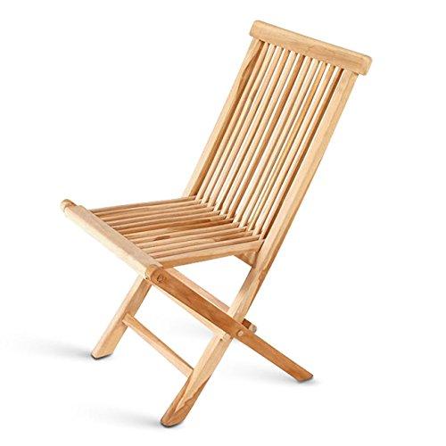 Produktabbildung von SAM® Teak-Holz Klappstuhl, Garten-Stuhl, zusammenklappbarer Hochlehner aus Massivholz, leicht zu verstauen, ideal für Balkon, Terrasse oder Garten