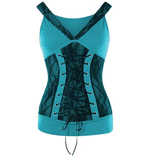 Yvelands Damen Mode Weste Ärmelloses T-Shirt Solide V-Ausschnitt Spitze Ärmel Verband Tank Tops Tops Bluse(Sky ()