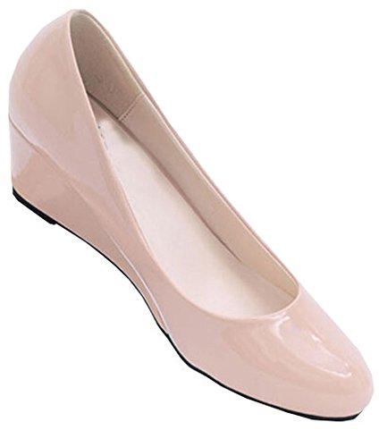 New 2015 Sommer-Frauen-Keil-Schuhe gezeigte Zehe-Glanzleder-Nude Arbeitsschuhe Casual Women Pumps Aprikose