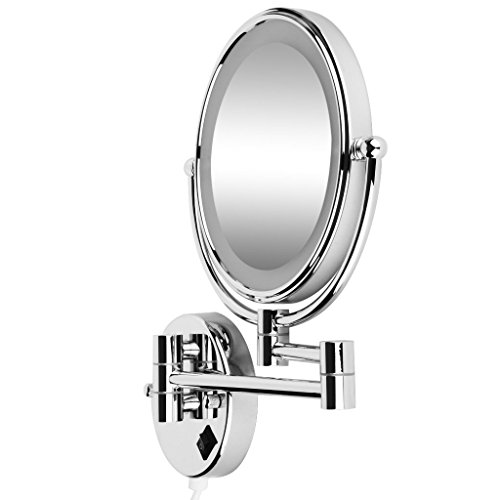 SODIAL(R) 8 Pouces LED Miroir Mural Grossissant Lumineux Extension Pliant - Double Face avec normale et Grossissant x5 - 360 degres rotation (avec prise UE)