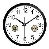 XIAODIANER Creative Horloge Murale Moderne Salon Silencieux Ronde Horloge à Quartz avec Température et Humidité 12 Pouces