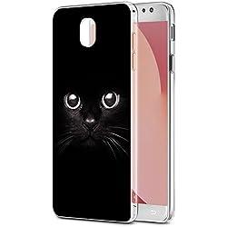 Funda Samsung Galaxy J7 2017, Eouine Cárcasa Ultra Slim Silicona 3d Transparente con Dibujos Impresión Patrón Suave TPU Bumper Case Cover Fundas Movil para Samsung Galaxy J7 2017 (Gato negro)