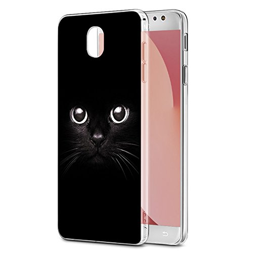 Funda Samsung Galaxy J7 2017, Eouine Ultra Slim Carcasa de Solicona Suave TPU, Transparante Pattern Funda Silicona Case Cover para Samsung Galaxy J7 2017 Smartphone (Gato negro)