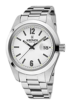 Kronos - Elegance White 968.8.35 - Reloj de Caballero de Cuarzo, Brazalete de Acero, Color Esfera: Plateada de KRONOS
