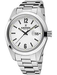 Kronos - Elegance White 968.8.35 - Reloj de Caballero de Cuarzo, Brazalete de