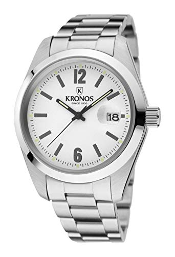 KRONOS - Elegance White 968.8.35 - Reloj de Caballero de Cuarzo, Brazalete de Acero, Color Esfera: Plateada...