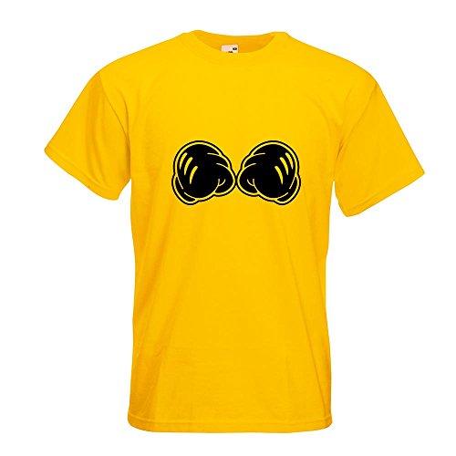 KIWISTAR - geballte Fäuste - Kampf - Micky Maus T-Shirt in 15 verschiedenen Farben - Herren Funshirt bedruckt Design Sprüche Spruch Motive Oberteil Baumwolle Print Größe S M L XL XXL Gelb