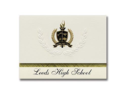 Signature Announcements Leeds High School (Leeds, AL) Schulabschluss-Ankündigungen, Präsidential-Stil, Grundpaket mit 25 goldfarbenen und schwarzen metallischen Folienversiegelungen