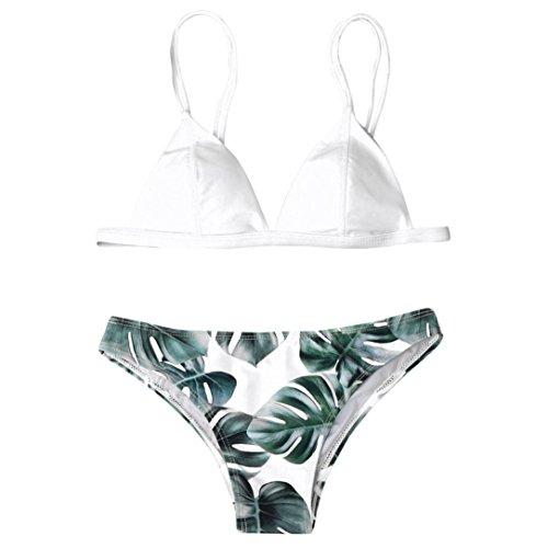 LILICAT® Conjunto de Bikini para Mujer, Parte de Arriba Bikini Push Up Básico + Tanga Bikini Playa de Hojas de Impresión Mujer, 2 PCS Traje de Baño 2018 Verano Sexy (M, Blanco)