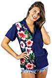 V.H.O. Funky Hawaiihemd Hawaiibluse, Kurzarm, Wedding, Blau, 6XL