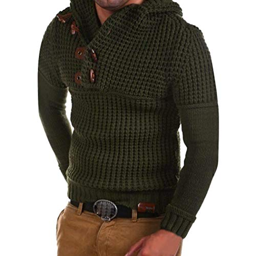 CICIYONER Top Bluse für Herren, Männer Bodycon Beiläufig Solide Farbe Tasten Stricken Pullover Oben Bluse