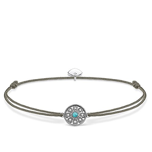 THOMAS SABO Damen Armband Little Secret Ethno Amulett Ethno Amulett Little Secret 925er Sterlingsilber, Geschwärzt, Nylon LS022-378-5