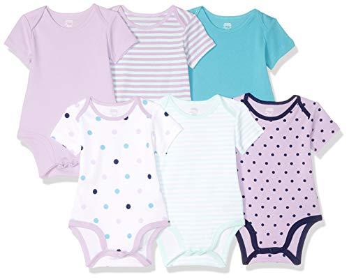 Amazon Essentials - Body a maniche corte, per bambine, confezione da 6, Girl Dots, US 18M (EU 80-86)
