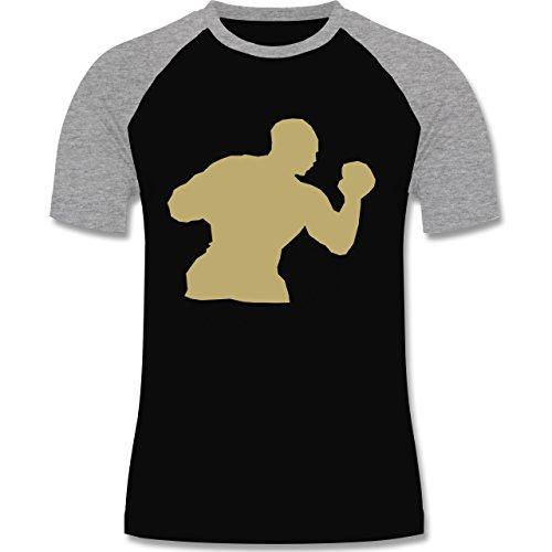 Kampfsport - Boxen - zweifarbiges Baseballshirt für Männer Schwarz/Grau Meliert