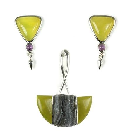 Sterling Silber In Serpentine, lilafarbener Achat Anhänger und Amethyst Ohrringe Set