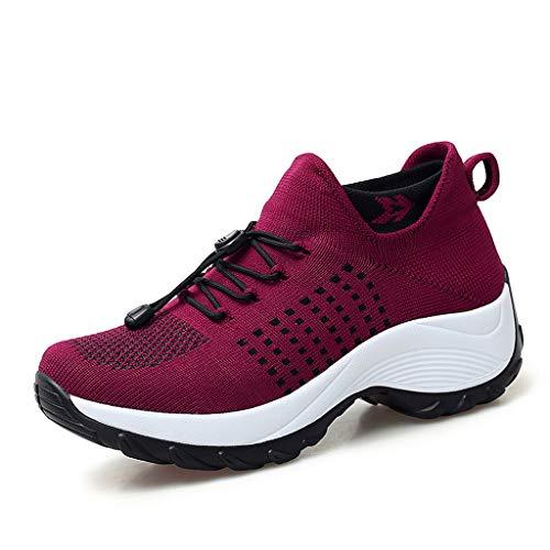 on Flats atmungsaktive Sport-Freizeitschuhe Lace-Up Walk Laufschuhe Laufschuhe Atmungsaktiv Turnschuhe Schnürer Sportschuhe Sneaker Schutzschuhe Damenschuhe ()