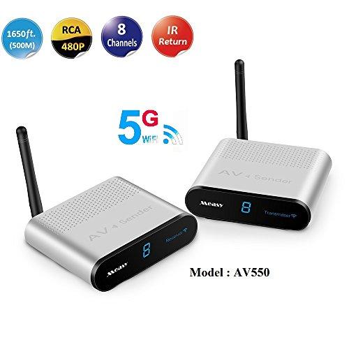 MEASY AV550 5.8G Wireless HD Extender Set (Empfänger und Sender) für HDMI mit Full- Kabellos, Reichweite Max. 500m, Schwarz (EU)
