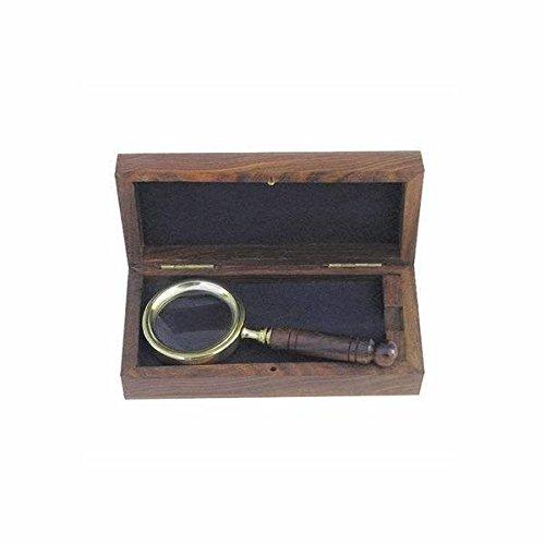 Kleine Leselupe, Vergrößerungsglas - Lupe aus Messing und Holzgriff incl. Holzschatulle