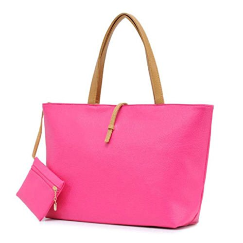 Damen Tragetasche Handtasche mit passenden Hand Portemonnaie - Kunstleder - Wasserfest Reißverschluss Schulranzen - Für Partys, Anlässe, und Sozial Gatherings - Formelle oder Casual Zubehör Hot Pink