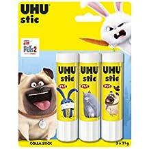 UHU Stic 3x21g Colle stick in blister Senza solventi e facile da usare, tappo a vite