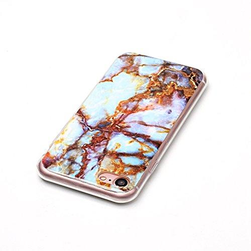 iPhone 7 / iPhone 8 Custodia,iPhone 7 / 8 Caso Di Marmo,MAGQI Flessibile Ultra Sottile Copertura Del Respingente Del Gel TPU Con Unico Marble Stone Serise Design Stampato Caso Antiurto Protezione Resi Blu Marrone Marmo