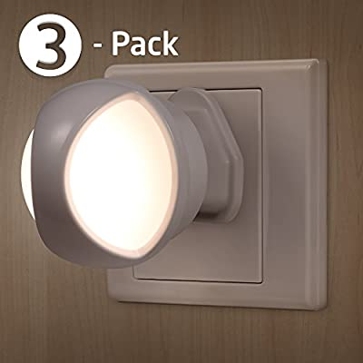 AVANTEK 3-Pack LED Night Light Plug-and-Play Automatic Wall Lights with Dusk to Dawn Sensor - low-cost UK wall light store.
